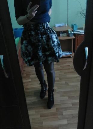 Юбка клеш, нарядная  юбочка трапеция-солнце, хлопок, от h&m divided, размер м-л