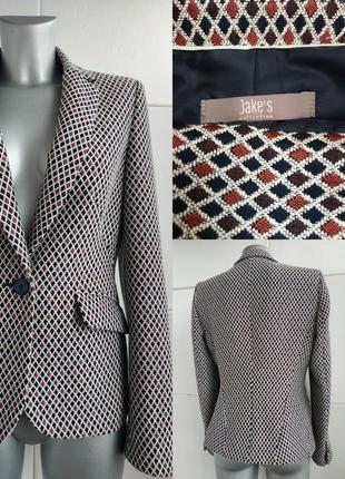 Очень стильный пиджак  jake's модного кроя с геометрическим принтом ромбы