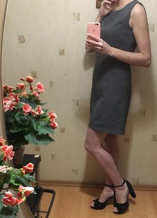 📁короткое серое платье франция/деловое прямое платье/платье офисное/классическое платье📁