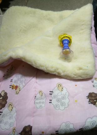 Одеяло детское х/б + овчина