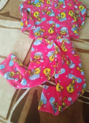 Яркая теплая пижама 4-5 лет