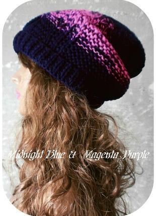 ❤ хлопковая фактурная шапка beanie с отворотом/косы/полуночно-синий, маджента пурпур