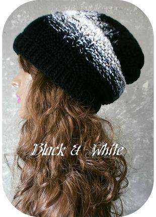 Любая расцветка! хлопковая фактурная шапка beanie с отворотом/косы/чёрного, белого цвета