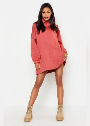 Тёплое платье-свитшот оверсайз, платье свитер под горло спортивное,