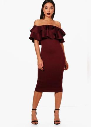 Нереальное платье футляр, с воланом по фигуре asos, открытые плечи