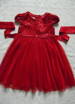 Нарядное платье monsoon на 2-3 года с паетками и блестками