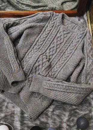 Объемный свитер джемпер пуловер грубой вязки с косами