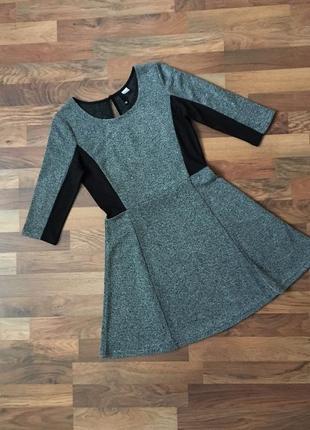 Стильное платье с рукавом цвет серый и черный размер s