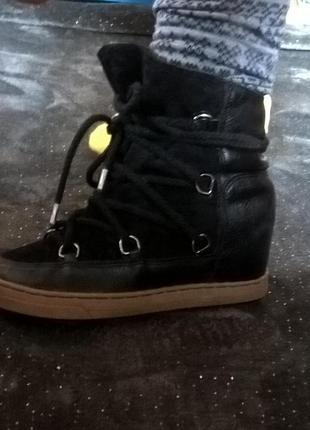 38 зимние ботинки, сникерсы, скрытая танкетка, типа isabel marant