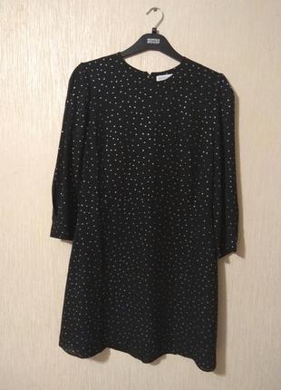 Нарядное черное платье в горох с блестками на новый год warehouse размер 14-16 xl-2xl