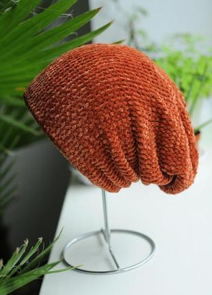 Тепла велюрова шапка на підкладці, колір - терракот, темний персик