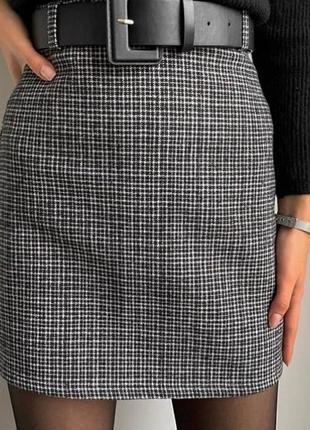 Новая шерстяная клетчатая серая тёплая юбка