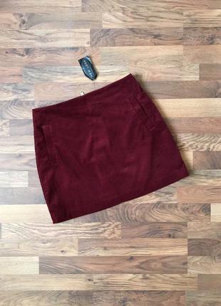 Новая с биркой бордовая вельветовая юбка размер l