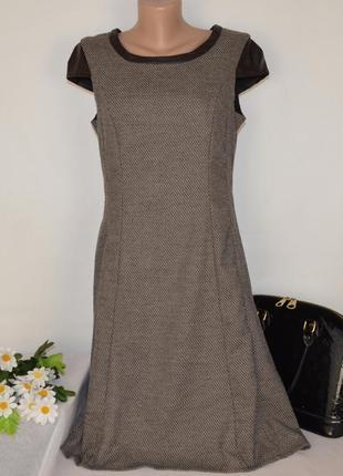 Брендовое коричневое теплое миди платье с кожаными вставками orsay тунис вискоза