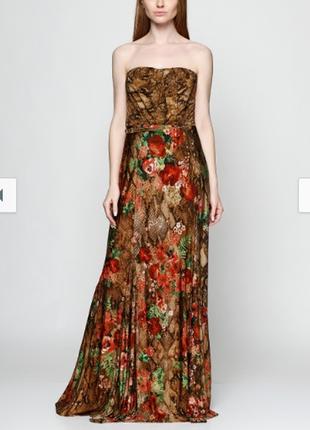 Брендовое вечернее нарядное макси платье бюстье mango марокко принт цветы этикетка