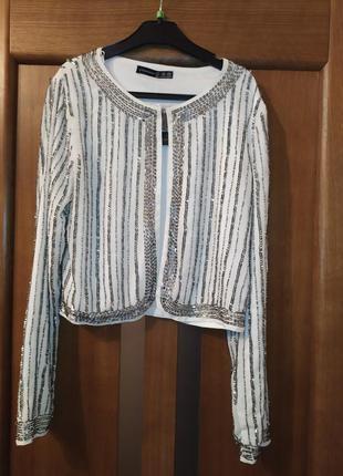 Жакет пиджак с пайетками и бисером от atmosphere
