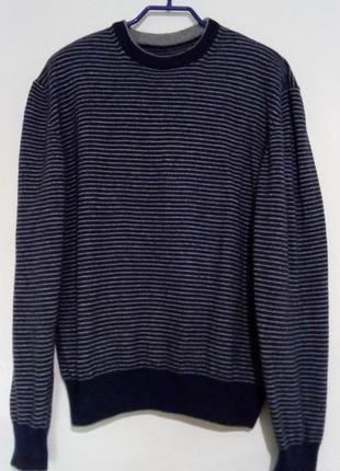 Теплый свитер, джемпер в полоску, шерсть мериноса, кашемир