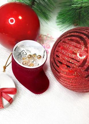 Новогодний сапожок с сережками гвоздиками avon