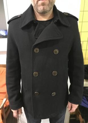 Синее двубортное пальто h&m