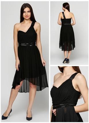 Платье с шлейфом чёрное шифоновое нарядное коктейльное бюстье летнее клубное