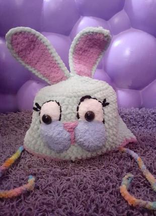 Чудесная плюшевая шапка-зайка с ушками для девочки нежный мятный цвет