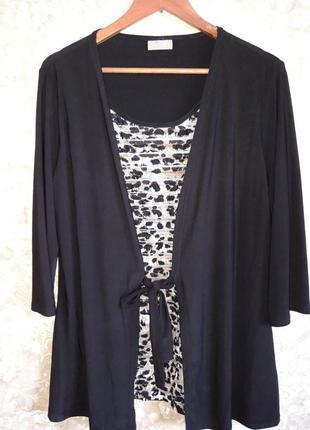 Супер батал блузка имитация двойки с рюшами размер 20-22