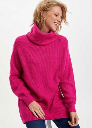 Батал теплый яркий  плюшевый свитер с высоким воротом размер 18-20