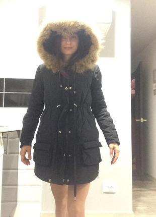 Пуховик парка зимний чёрный теплый+подарок