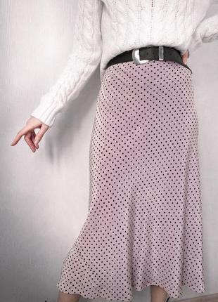Трендовая юбка в бельевом стиле, шелковая, атласная, сатиновая юбка миди в горох