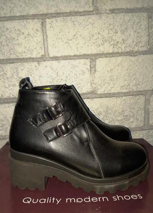 Распродажа склада! новая кожаная обувь!ботинки деми размер 36