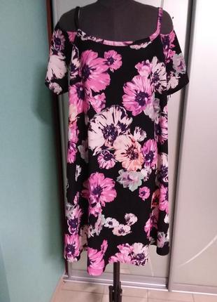 Яркое трикотажное платье с открытыми плечами большого 24 размера yours