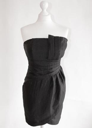 Маленькое чёрное коктельное вечернеее платье с открытыми плечами h&m, размера s/36/8.