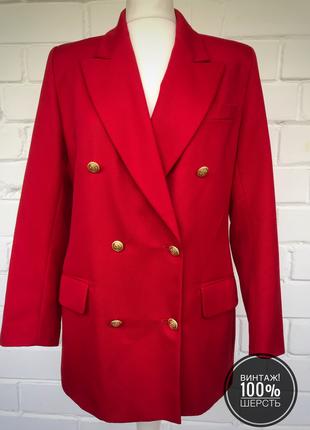 Винтаж! шерстяной удлиненный двубортный жакет пиджак с золотыми пуговицами. размер l.