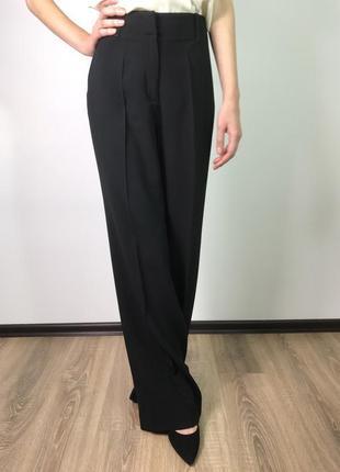 Черные широкие свободные брюки палаццо на высокой посадке massimo dutti xl/41/12.