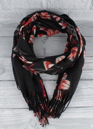Кашемировый шарф, палантин черный