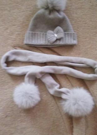 Комплект кашемировый шапка и шарф на девочку il treningиталиялия