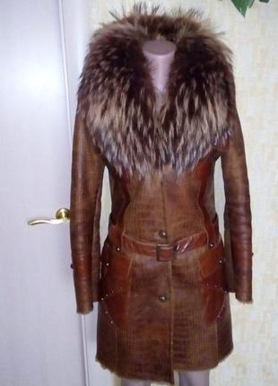 Роскошная натуральная дубленка с чернобуркой/меховая шуба/пальто/мех/дублёнка/пуховик