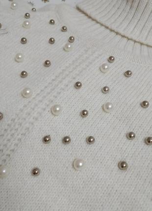 Новый вязаный теплый свитер для девочки с жемчужинами в школу