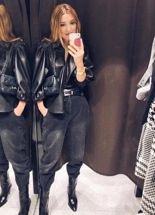 Zara новая коллекция!рубашка из искусственной кожи