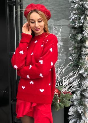 Очень милый свитер с сердечками