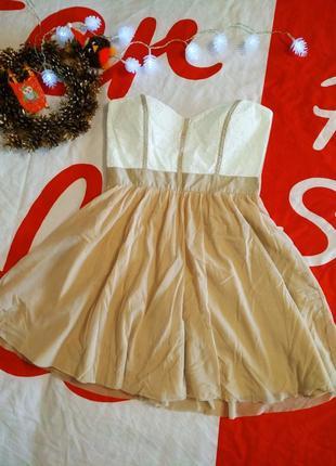 Платье вечернее новогоднее бандо без бретелей кружевной топ