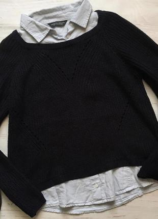 Джемпер с рубашкой 2 в 1