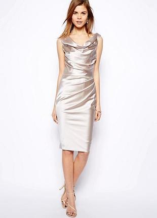 Coast серебро белое платье к новому году, металлик , m-l