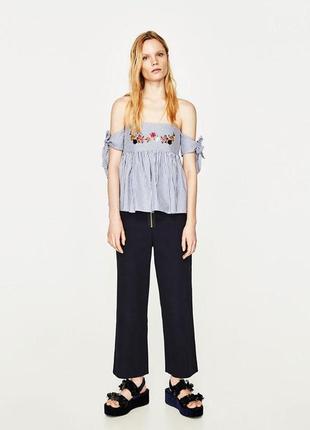 Блуза блузка в полоску, топ с вышивкой zara майка с открытыми плечами