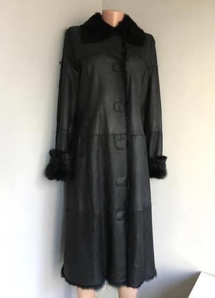 Пальто дубленка подстёжка натуральная кожа, мех, длинная, м/38.
