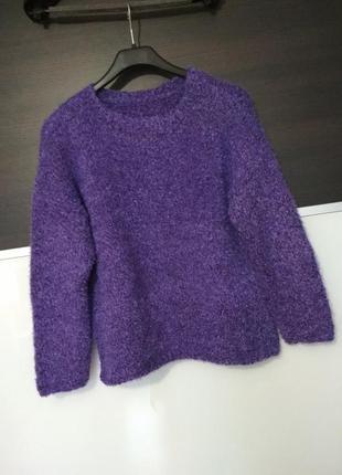 Фиолетовый укороченный пушистый очень теплый свитер