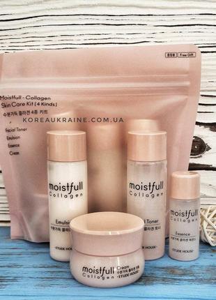 Мини набор на основе морского коллагена etude house moistfull collagen skin care kit