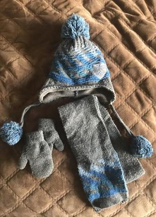 Шапка, шарф, рукавички набор