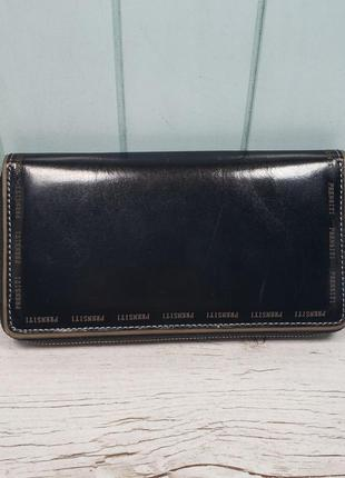 Женчкий кожаный кошелёк на молнии черный prensiti жіночий шкіряний гаманець