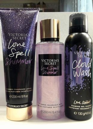 Набор victoria's secret love spell shimmer мист лосьон addict